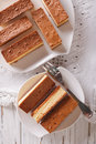 Castella Japanese cake on a plate closeup. vertical view from ab Royalty Free Stock Photo