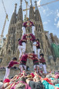 Castellers barcelona spain april some unidentified people called do a castell or human tower typical tradition in catalonia on Royalty Free Stock Image