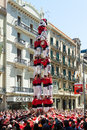 Castellers de barcelona performing castel spain april castell in april in spain castell catalan show is human tower Stock Images