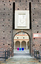 Castello sforzesco in milan bird advertising Royalty Free Stock Photo