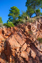 Castellon desierto de las palmas desert red mountains with pines at spain Stock Photography