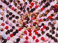 Castells in terrassa performance during the festa mayor catalonia spain a castell is a human tower built traditionally Stock Photo