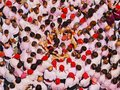 Castells in terrassa performance during the festa mayor catalonia spain a castell is a human tower built traditionally Stock Images