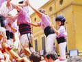 Castells in terrassa performance during the festa mayor catalonia spain a castell is a human tower built traditionally Royalty Free Stock Images