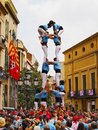 Castells in terrassa performance during the festa mayor catalonia spain a castell is a human tower built traditionally Royalty Free Stock Photo