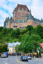 Castelo frontenac no dia Fotos de Stock Royalty Free