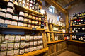 Castelrotto speck shop interior the of a small of italian kastelruth shelves with local food products and specialties Royalty Free Stock Photo