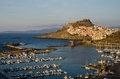 Castelsardo sardinia historic city of in with fortress and harbour in foreground Stock Photo