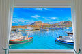Castelsardo sea seen window Royalty Free Stock Photo