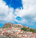Castelsardo under clouds view of on a cloudy day Royalty Free Stock Photography