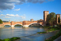 Castelvecchio bridge verona italy – october of castle over adige river Stock Image