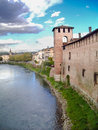Castelvecchio verona italy – october and adige river with other areas of in the background Royalty Free Stock Photo