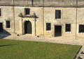 Castillio san marcos interior walls in st augustine florida fortress with grass Stock Photos