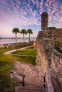 Castillo de San Marcos at sunset, in St. Augustine, Florida. Royalty Free Stock Photo