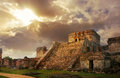 Castillo sunrise ancient mayan city of tulum fortress at in the mexico Stock Images