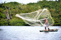 Casting Net In Amazon Royalty Free Stock Photo