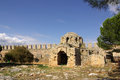 Castle in alanya turkey ruins of a byzantine church the ichkale Stock Photo