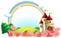 A castle with blooming flowers illustration of on white background Stock Photo