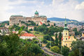 Castle in budapest cityscape including and church the beautiful city of summertime Royalty Free Stock Photo