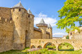 Castle in carcassonne france entrance of the the old city of Stock Photos