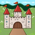 Castle cartoon drawing, vector illustration. Stone beige drawn palace with three towers with gates, red domes and flags against a Royalty Free Stock Photo
