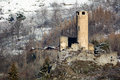 Castle of chatelard ruins the la salle valle d aosta Stock Photos