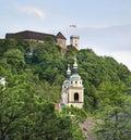 Castle and church in Ljubljana. Slovenija Royalty Free Stock Photo