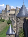 Castle of the Cité de Carcassonne ( France ) Stock Photo