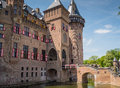 Castle de haar the netherlands is a medieval fortress with towers ramparts canals and drawbridges Royalty Free Stock Photos