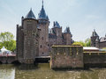 Castle de haar the netherlands surrounded by a moat is medieval fortress with towers ramparts canals drawbridges and is Stock Images