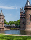 Castle de haar the netherlands view on part of medieval dutch with its connecting bridge made of wood Royalty Free Stock Photo