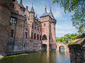 Castle de haar the netherlands view on part of monumental a medieval fortress with towers ramparts canals and drawbridges Royalty Free Stock Photos