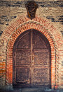 Castle door detail of ancient wood Royalty Free Stock Image