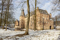 Castle doorwerth in the netherlands in winter on sunny day Royalty Free Stock Photo