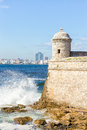 The castle of el morro and the skyline of havana detail with in background Royalty Free Stock Photos