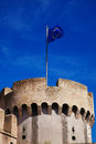 Castle with eu flag saint angel and the mausoleum of hadrian in rome Royalty Free Stock Photo