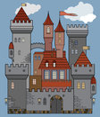 Castle fairy tale color illustration Royalty Free Stock Image