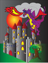 Castle and fire breathing dragon Royalty Free Stock Photo