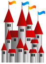 Castle flags medieval with and red rooftops Royalty Free Stock Image