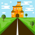 Castle. Flat style. Bright orange castle and road.