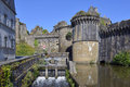 Castle of fougères in france sluice and fortifications commune and a sub prefecture the ille et vilaine department brittany Royalty Free Stock Images