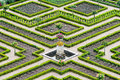 Castle gardens with boxwood and vegetables and flowers Stock Photo