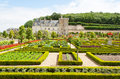 Castle gardens with boxwood and vegetables and flowers Royalty Free Stock Photography