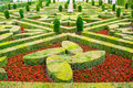 Castle gardens with boxwood and vegetables and flowers Stock Photos