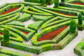 Castle gardens with boxwood and vegetables and flowers Royalty Free Stock Image