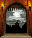 Castle gate raster version of vector image of the medieval with a drawbridge and torches against the night sky with the moon and Royalty Free Stock Images