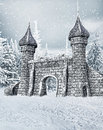 Castle gate with snow fantasy in a snowy forest Stock Photos