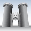 Castle gate with two towers and sky illustration Royalty Free Stock Images