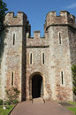 Castle gatehouse dunster england medieval or tenants hall entrance and turrets the oldest part of the which dates back to the th Stock Photos
