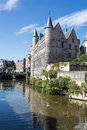 Castle in gent belgium of gerard the devil over canal Stock Image